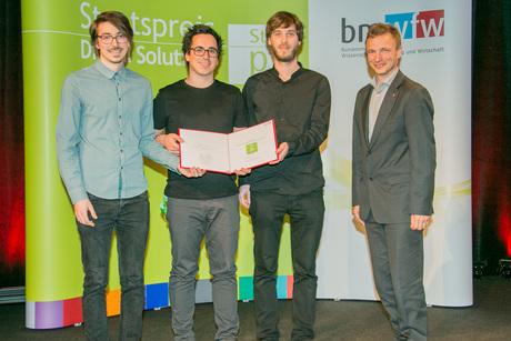 Im Bild: Johannes Traun, Felix Blasinger, Max Heil, Ronald Bieber/ (c) BMWFW/Matthias Silveri