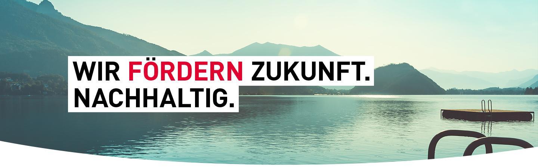 Ein Alpensee in der Dämmerung. Text: WIR FÖRDERN ZUKUNFT. NACHHALTIG.