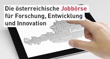 Grafik mit Begriffen zum Innovationsland Österreich und Text: Die Österreichische Jobbörse für Forschung, Entwicklung und Innovation