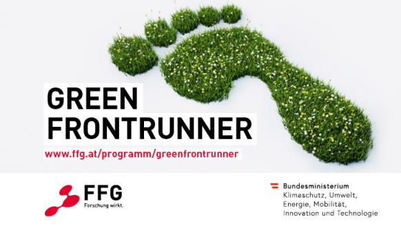 Bild eines Fussabdruckes als Rasenfläche. Text: Green Frontrunner