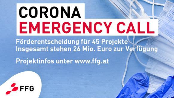 Corona Emergency Call - Förderentscheidung  für 45 Projekte