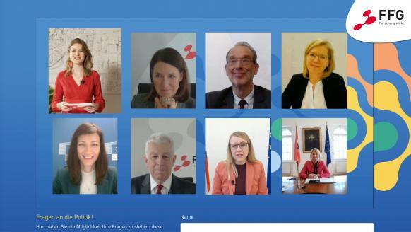 Henrietta Egerth und Klaus Pseiner (FFG), BM Heinz Faßmann, BM Leonore Gewessler, EU-Kommissarin Mariya Gabriel, BM Margarete Schramböck, BM Klaudia Tanner. Screenshot