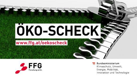Illustration zeigt einen großen Reißverschluss und darunter Rasen, sowie die Logos von FFG und BMK. Text: Öko-Scheck