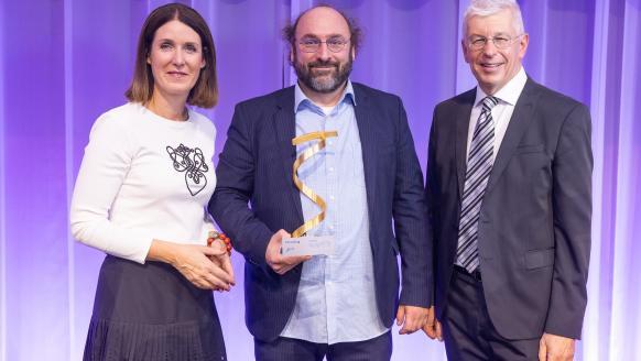 FFG-Geschäftsführer Henrietta Egerth und Klaus Pseiner, Simulationsforscher Niki Popper (TU Wien). Foto: Die Presse / Roland Rudolph